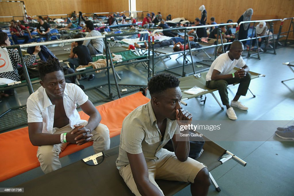 Migrants, including thee men from Benin, who had arrived by train to Germany sit on cots while waiting to register at a center for migrants at a facility of the German Federal Police (Bundespolizei) on August 31, 2015 in Rosenheim, Germany. German police monitor trains arriving from the Balkans and from Italy that go through Rosenheim and currently detain around 350 people a day for travelling without a passport. The police register the migrants, mostly from countries including Syria, Afghanistan and Eritrea, fingerprint them and check whether any are already in the European asylum-applicants or criminal databases. From there the migrants are free to travel within Germany to reception centers where they can apply for asylum. Up to 1,600 migrants are currently arriving in Bavaria in southern Germany a day and will seek asylum. Germany is expecting to receive 800,000 asylum-seeking migrants this year and is struggling to cope with the record number.
