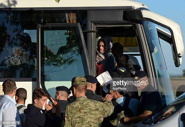 Migrants leaving the temporary transfer camp in Opatovac near border crossing point between Serbia and Croatia in Opatovac Croatia on September 21...