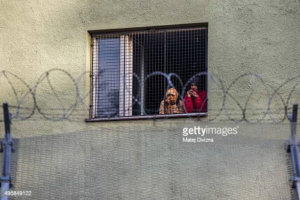 Migrants look from a window at a detention center for migrants on November 5 2015 in Bela pod Bezdezem Czech Republic U N High Commissioner for Human...