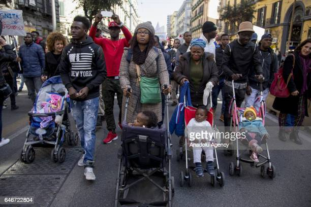 Migrants mostly coming from Nigeria Senegal Pakistan and Bangladesh march in the streets of the city during the International Day for the immigrants'...