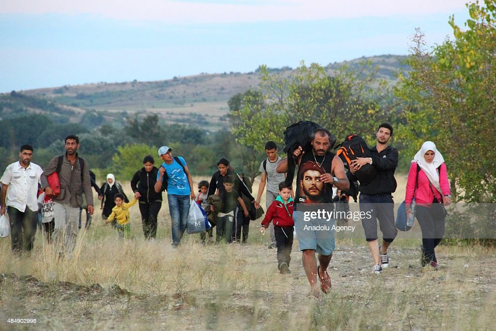 Macedonia Allows Migrants to Cross Border From Greece : News Photo