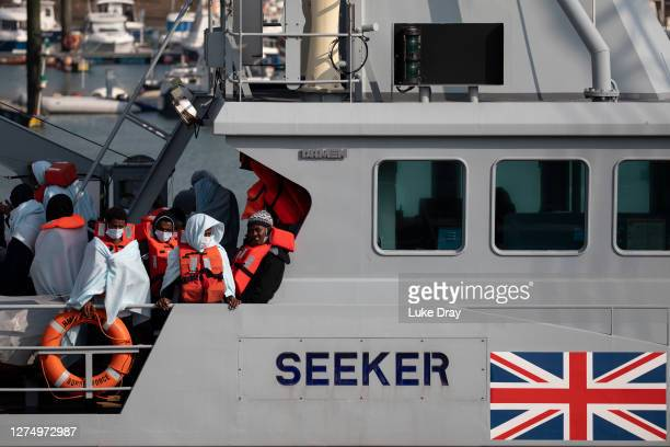 Migrants on board HMC Seeker after being intercepted in the English Channel by border foce on September 22, 2020 in Dover, England. This summer has...