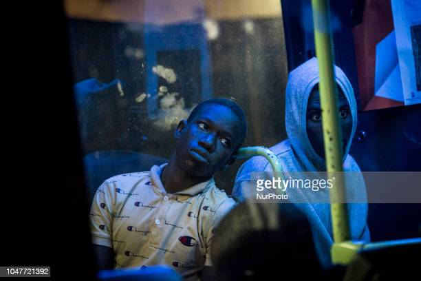 Migrants on the bus to be transferred to a center on October 6 Malaga