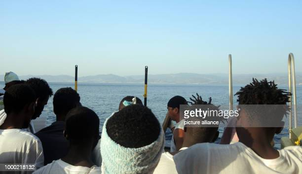 Migrants on the rescue ship 'Aquarius' in the Mediterranean Sea 27 June 2017 The humanitarian aid organisation Doctors without borders and SOS...