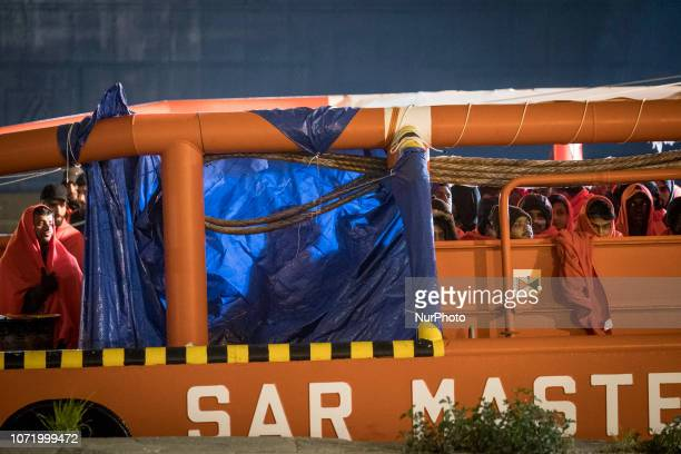 130 migrants onboard the Spanish vessel On 7 December 2018 in Malaga Spain The Spanish Maritime vessel the quotSAR Masteleroquot rescued 130 migrants...