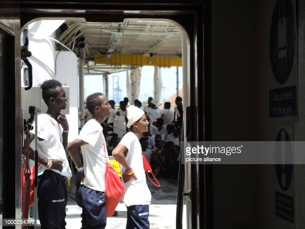 Migrants rescued from the Mediterranean on board the Aquarius a boat belonging to the NGO Doctors Without Borders off the Italian coast 29 June 2017...