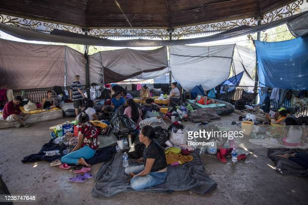 Migrants take shelter in a gazebo in Reynosa, Tamaulipas state, Mexico, on Wednesday, Oct. 6, 2021. Panama's foreign minister Erika Mouynes warned...
