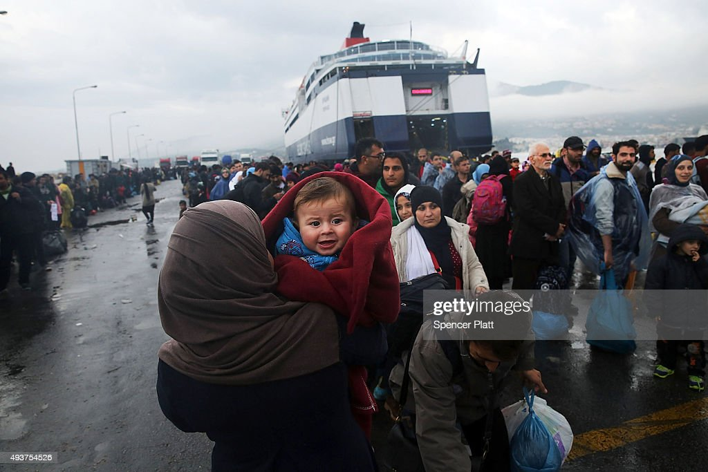Greek Island Of Lesbos Continues To Receive Migrants Fleeing Their Countries : News Photo