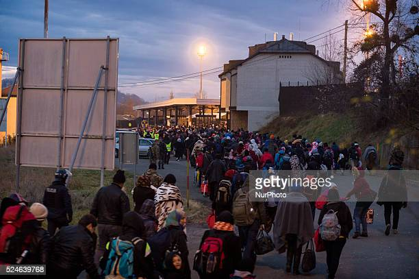Migrants wait to be allowed to cross to Austria in Sentilj Slovenia About 5000 migrants are reaching Europe each day along the socalled Balkan...