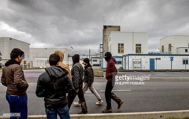 Migrants walk past a Synthexim and Interor chemical plant regulated by the Seveso directive on October 19 near the 'New Jungle' migrants camp in...