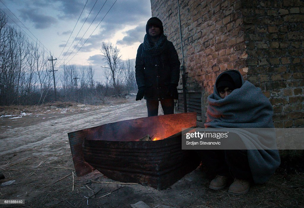 Migrants Stranded In Freezing Conditions On The Serbian Boarder With Hungary : News Photo