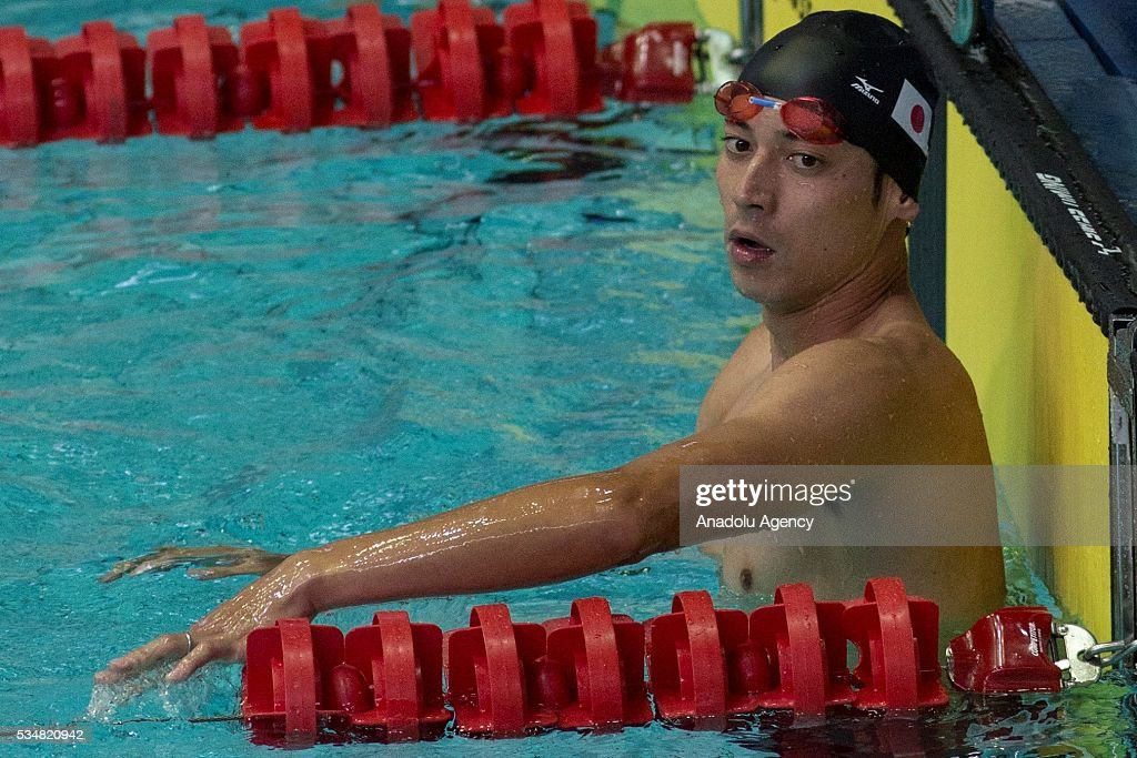 Miguchi Tomoya of Japan is seen during the swimming of the men's final World Championship in modern pentathlon at Olympic Sports Complex in Moscow, Russia, on May 28, 2016.