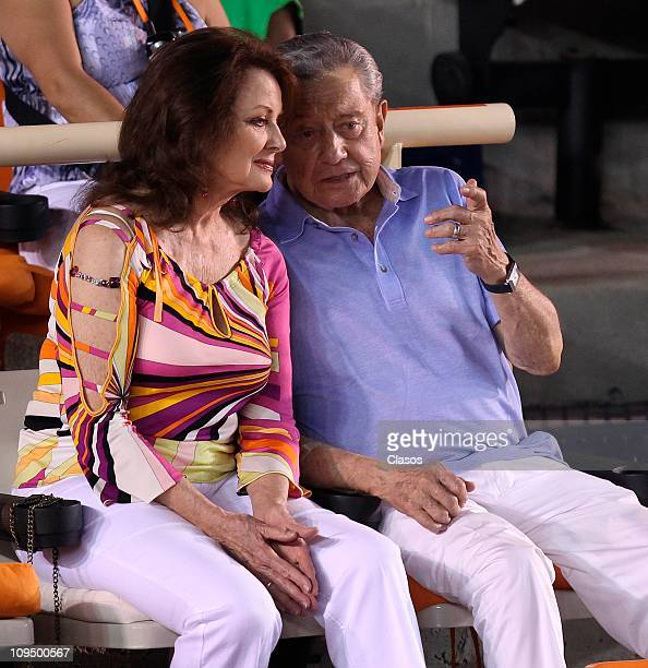 Miguel Aleman Velasco and wife Chiristiane Magnani in the finals of the Abierto Mexicano de Tenis in Acapulco Mexico Photo by Marcos...