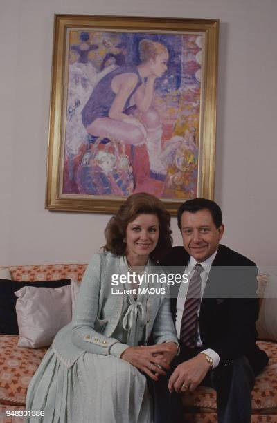 Miguel Aleman Velasco politicien et homme d'affaires mexicain et son épouse Christiane Martel le 2 avril 1987 en France