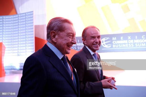 Miguel Aleman Velasco president of Mexico's Business Summit left and Juan Manuel CarrerasLopez governor of San Luis Potosi smile during the Mexico...