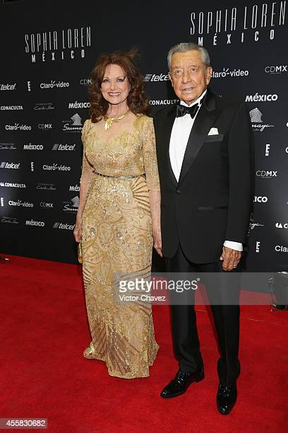 Miguel Alemán Velasco and Christianne Magnani attend the Sophia Loren's 80th birthday dinner at Museo Soumaya on September 20 2014 in Mexico City...