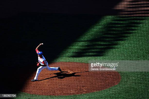 Miguel Alfredo Gonzalez of Cuba pitches the ball during the Baseball Bronze Medal Match between Mexico and Cuba during Day 11 of the XVI Pan American...