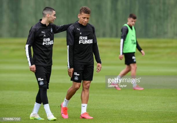 Miguel Almirón and Dwight Gayle during the Newcastle United Training session at the Newcastle United Training Centre on July 18 2020 in Newcastle...