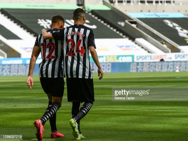 Miguel Almirón of Newcastle United FC celebrates after Dwight Gayle scores the opening goal within seconds of kick off during the Premier League...