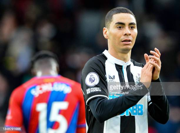 Miguel Almirón of Newcastle United FC claps the fans during the Premier League match between Crystal Palace and Newcastle United at Selhurst Park on...