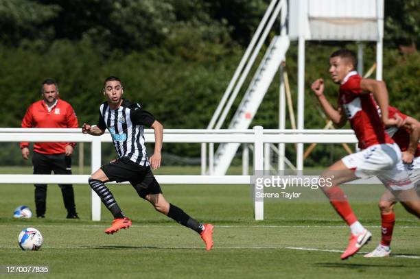 Miguel Almirón of Newcastle United FC crosses the ball during the Pre Season Friendly between Newcastle United and Middlesbrough FC at the Rockliffe...