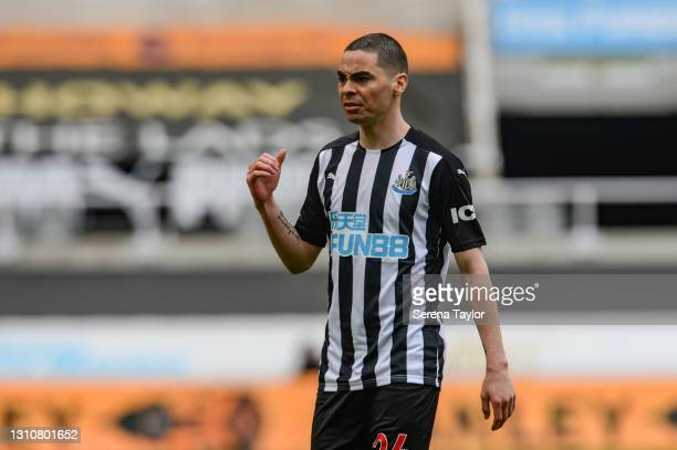 Miguel Almirón of Newcastle United FC gestures to the linesman during the Premier League match between Newcastle United and Tottenham Hotspur at St....