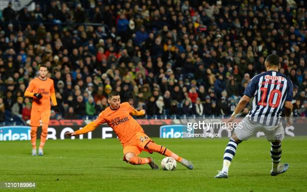 Miguel Almirón of Newcastle United FC scores his and Newcastle's second goal during the FA Cup Fifth Round match between West Bromwich Albion and...