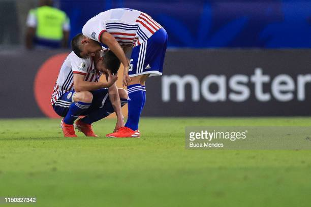 Miguel Almirón of Paraguay reacts after the Copa America Brazil 2019 group B match between Paraguay and Qatar at Maracana Stadium on June 16 2019 in...