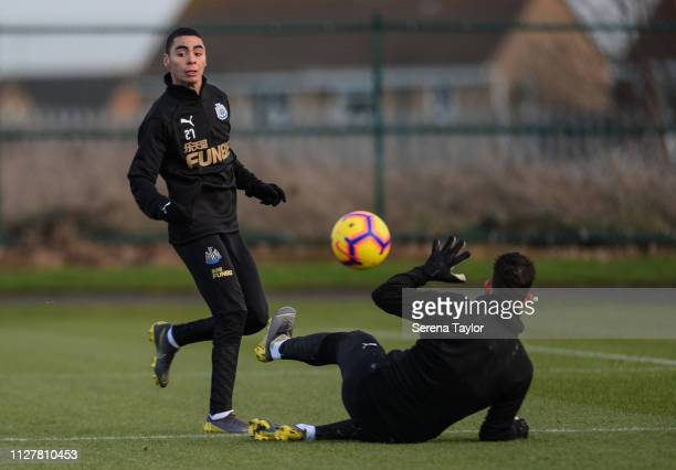 Miguel Almiron chips the ball over Goalkeeper Martin Dubravka during the Newcastle United Training Session at the Newcastle United Training Centre on...