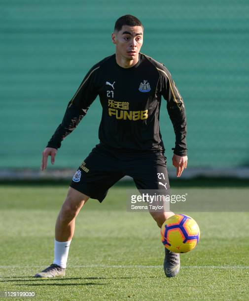 Miguel Almiron controls the ball during the Newcastle United warm weather training session at La Finca Golf Resort on February 12 2019 in Callosa de...