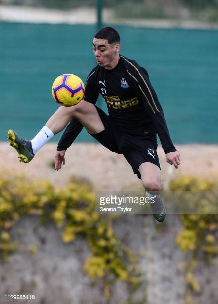 Miguel Almiron controls the ball during the Newcastle United Warm Weather Training Session at La Finca Golf Resort on February 14 2019 in Callosa de...
