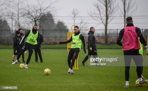 Miguel Almiron controls the ball in a ball drill during the Newcastle United Training Session at the Newcastle United Training Centre on January 09...