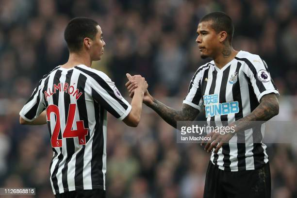 Miguel Almiron is congratulated by teammate Salomon Rondon of Newcastle United during the Premier League match between Newcastle United and...