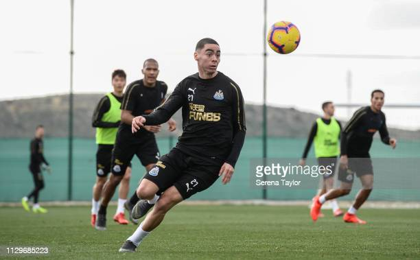Miguel Almiron looks to control the ball during the Newcastle United Warm Weather Training Session at La Finca Golf Resort on February 14 2019 in...