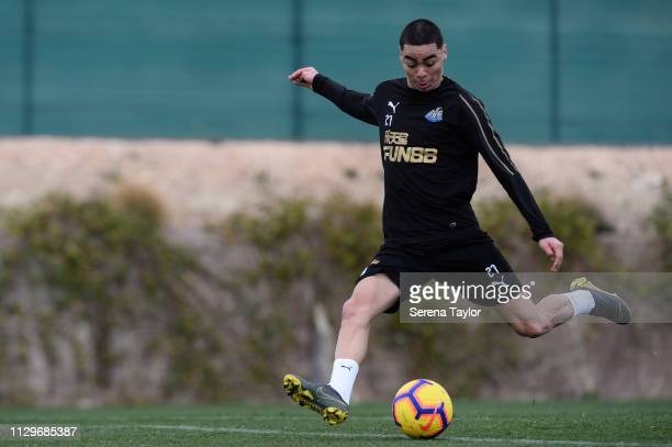 Miguel Almiron looks to cross the ball during the Newcastle United Warm Weather Training Session at La Finca Golf Resort on February 14 2019 in...