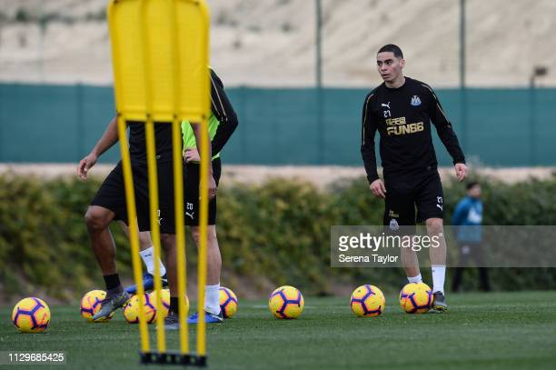 Miguel Almiron looks to pass the ball during the Newcastle United Warm Weather Training Session at La Finca Golf Resort on February 14 2019 in...