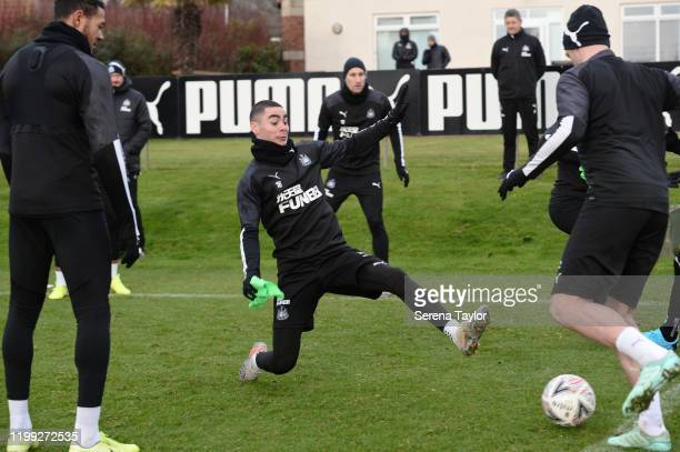 Miguel Almiron lunges to intercept the ball during the Newcastle United Training Session at the Newcastle United Training Centre on January 13 2020...
