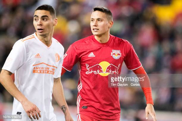 Miguel Almiron of Atlanta United and Sean Davis of New York Red Bulls during the New York Red Bulls Vs Atlanta United FC MLS Eastern Conference Final...