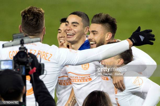 Miguel Almiron of Atlanta United celebrates with team mates during the New York Red Bulls Vs Atlanta United FC MLS Eastern Conference Final second...