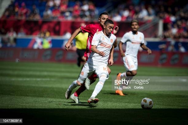 Miguel Almiron of Atlanta United drives to the goal during the Major League Soccer match between Atlanta United and New York Red Bulls at Red Bull...