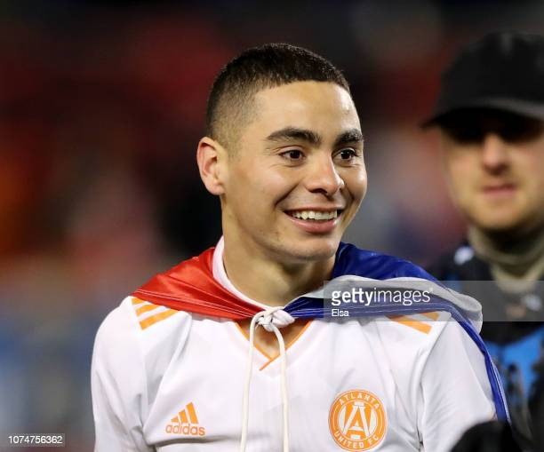 Miguel Almiron of Atlanta United FC celebrates the win after the Eastern Conference Finals Leg 2 match against the New York Red Bulls at Red Bull...