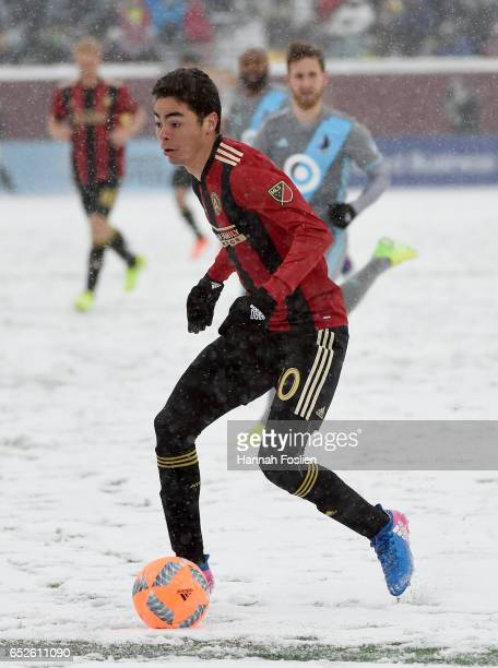 Miguel Almiron of Atlanta United FC controls the ball against the Minnesota United FC during the second half of the match on March 12 2017 at TCF...