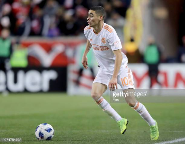 Miguel Almiron of Atlanta United FC takes the ball in the second half against the New York Red Bulls during the Eastern Conference Finals Leg 2 match...