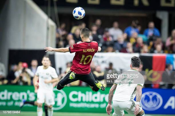 Miguel Almiron of Atlanta United goes up for the header during the 2018 Audi MLS Cup Championship match between Atlanta United and the Portland...