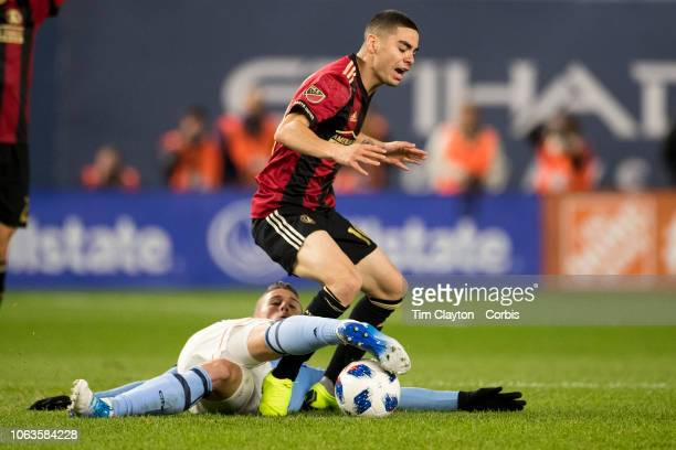 Miguel Almiron of Atlanta United is challenged by Ben Sweat of New York City during the New York City FC Vs Atlanta United FC MLS Eastern Conference...
