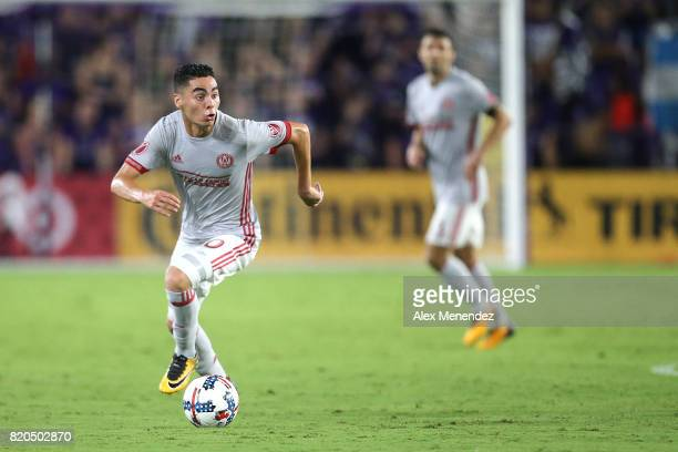 Miguel Almiron of Atlanta United looks to make a pass during a MLS soccer match between Atlanta United FC and the Orlando City SC at Orlando City...