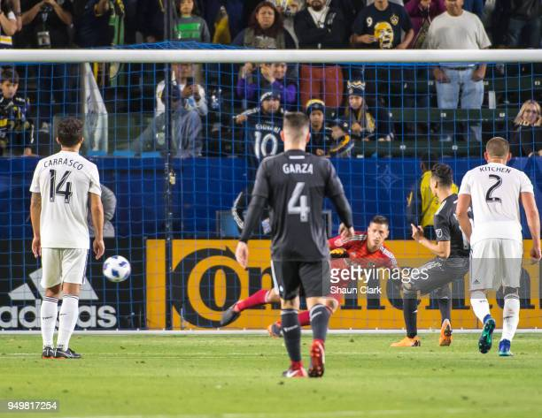 Miguel Almiron of Atlanta United scores a penalty during the Los Angeles Galaxy's MLS match against Atlanta United FC at the StubHub Center on April...