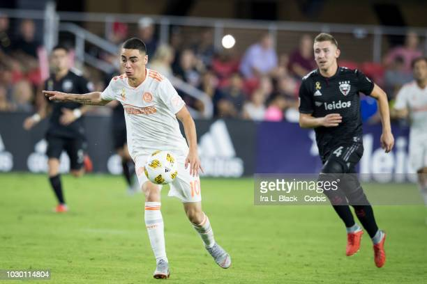 Miguel Almiron of Atlanta United takes a run at the goal during the Major League Soccer match between DC United and Atlanta United at Audi Field on...