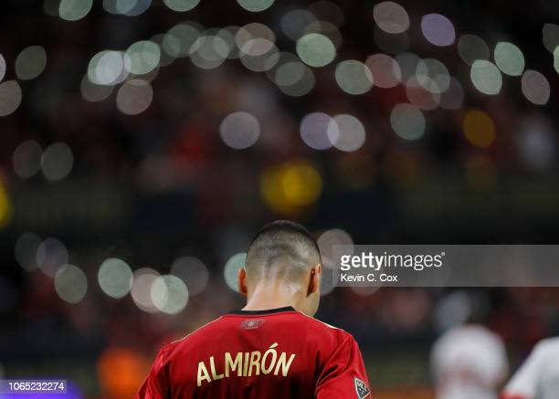 Miguel Almiron of Atlanta United walks down the pitch against the New York Red Bulls during the MLS Eastern Conference Finals between Atlanta United...