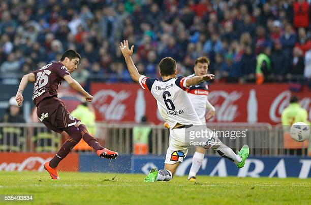Miguel Almiron of Lanus shoots to score the second goal of his team during a final match between San Lorenzo and Lanus as part of Torneo Transicion...